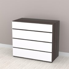 Allure 4 Drawer Dresser in White and Ebony