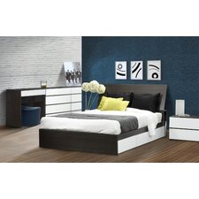 Allure Storage Bed Base with Headboard in White and Ebony