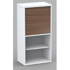 Liber-T One Door Bookcase in White/Walnut