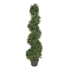 Artificial Rosemary Spiral Topiary in Pot