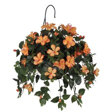 Artificial Hibiscus Hanging Plant in Basket