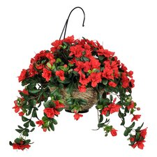 Artificial Azalea Hanging Plant in Basket