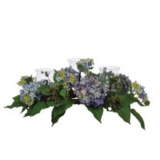 <strong>House of Silk Flowers Inc.</strong> Artificial Hydrangea and Berry Triple Candleholder