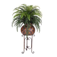 Artificial Fern in Large Tribal Pot