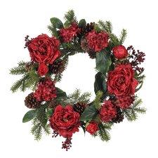 Artificial Peony / Hydrangea / Berry / Pine Wreath