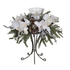 Artificial Iced Phalaenopsis Orchid / Pine Single Candle Holder