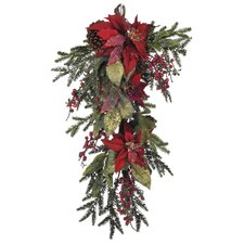 <strong>House of Silk Flowers Inc.</strong> Artificial Poinsettia / Berry / Pine Teardrop
