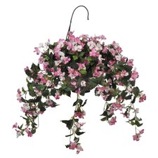 <strong>House of Silk Flowers Inc.</strong> Artificial Pink Impatient Hanging Basket