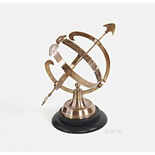 Decorative Brass Armillary on Wooden Base