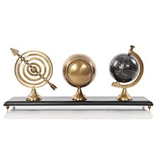 Armillery Clock and Globe on Wood Base