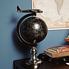 Decorative Airplane on Globe with Brass Stand