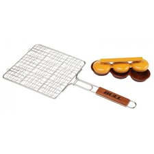 <strong>Bull Outdoor Products</strong> Triple Patty Press Stainless Mini Burger Grilling Basket