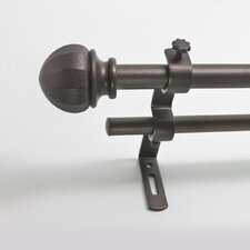 <strong>Beme International</strong> Facet Ball Double Curtain Rod and Hardware Set
