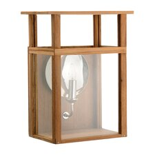 1 Light Wood Electric Wall Sconce Lantern