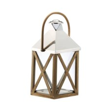 <strong>DK Living</strong> Metal and Wood and Glass Lantern