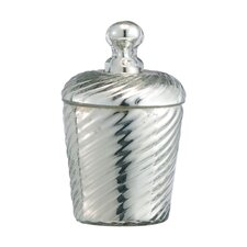 Glass Ribbed Candle Cylindrical Canister