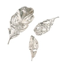 3 Piece Nickel Plated Leaves Figurine Set