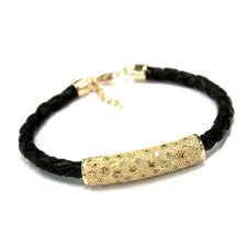 Ana Braided Black Leather Bracelet