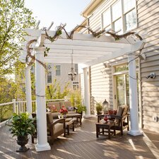 "Freestanding 9' 6"" H x 14' W x 14' D Pergola with High Round Columns"