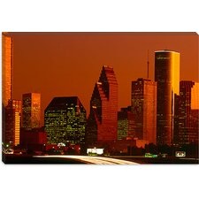 <strong>iCanvasArt</strong> Skyscrapers in a City at Sunset, Houston, Texas Canvas Wall Art