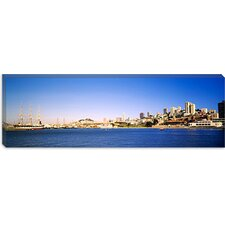Sea with a City in the Background, Coit Tower, Ghirardelli Square, San Francisco, California Canvas Wall Art