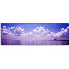 Sea with Sunshine Skyway Bridge in Gulf of Mexico, Florida Canvas Wall Art