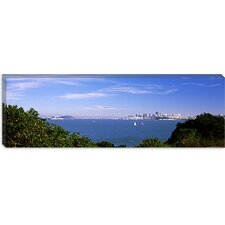 Sea with The Bay Bridge and Alcatraz Island in The background, San Francisco, Marin County, California Canvas Wall Art