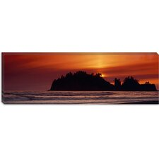 Silhouette of Sea Stack at Sunrise, Washington State Canvas Wall Art