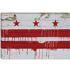 <strong>iCanvasArt</strong> Washington, D.C, Flag, Wood Planks with Paint Drip Canvas Wall Art