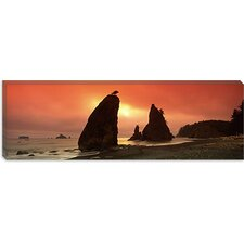 <strong>iCanvasArt</strong> Silhouette of Seastacks at Sunset, Olympic National Park, Washington State Canvas Wall Art