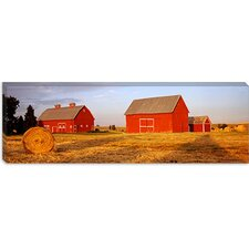 <strong>iCanvasArt</strong> Red Barns in a Farm, Palouse, Whitman County, Washington State Canvas Wall Art