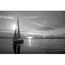 Sailboat Photographic Print on Canvas in Black/White