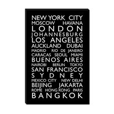 "<strong>iCanvasArt</strong> ""World Cities Bus Roll"" Canvas Wall Art by Michael Thompsett"