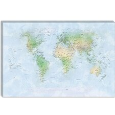 "<strong>iCanvasArt</strong> ""World Map III"" Canvas Wall Art by Michael Thompsett"