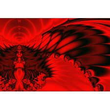 Digital Red Falcon Graphic Art on Canvas