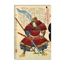 <strong>iCanvasArt</strong> Samurai with Naginata Japanese Woodblock Canvas Wall Art