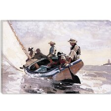 """Sailing the Catboat 1873"" Canvas Wall Art by Winslow Homer"