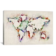 """Map of the World Paint Splashes"" Canvas Print Wall Art by Michael Thompsett"