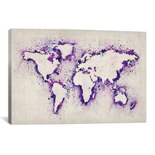 """Map of the World (Purple) Paint Splashes"" Canvas Print Wall Art by Michael Thompsett"