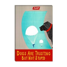 Dogs Are Trusting But Not Stupid Black Canvas Print Wall Art by Stephen Huneck