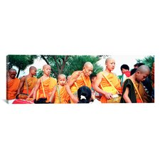 Panoramic Buddhist Monks Luang Prabang Laos Photographic Print on Canvas