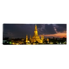 Panoramic Buddhist Temple Lit up at Dawn Bangkok, Thailand Photographic Print on Canvas