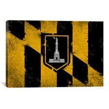 Baltimore Flag, Grunge Painted Graphic Art on Canvas