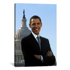 Political Barack Obama Portrait White House Photographic Print on Canvas