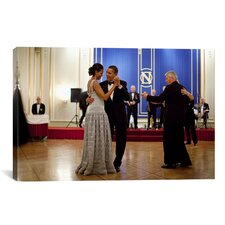 Political Barack and Michelle Obama Dancing Photographic Print on Canvas