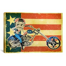 Betty Boop American Rider Graphic Art on Canvas
