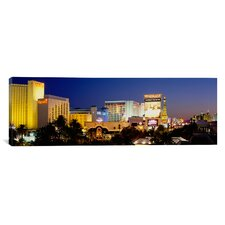 Panoramic Buildings Lit up at Dusk Las Vegas, Nevada Photographic Print on Canvas