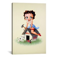 Betty Boop Building Pudgy's Dog House Graphic Art on Canvas