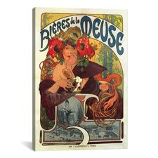 'Bieres De La Meuse Vintage Beer' by Alphonse Mucha Vintage Advertisement on Canvas