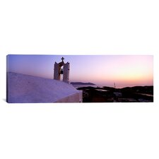 Panoramic Bell tower on a Building, Los, Cyclades Islands, Greece Photographic Print on Canvas